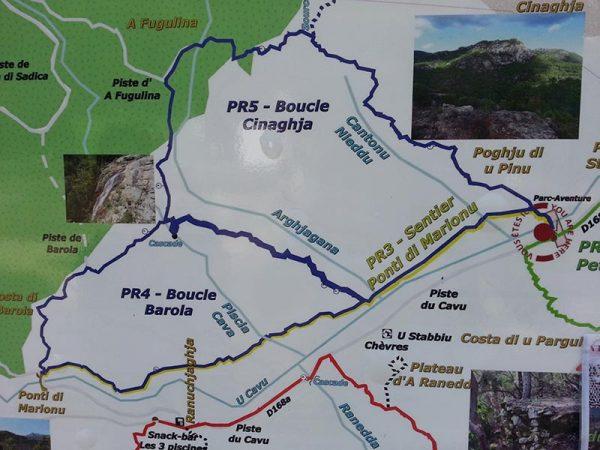 Les parcours de Cinaghja et Barola